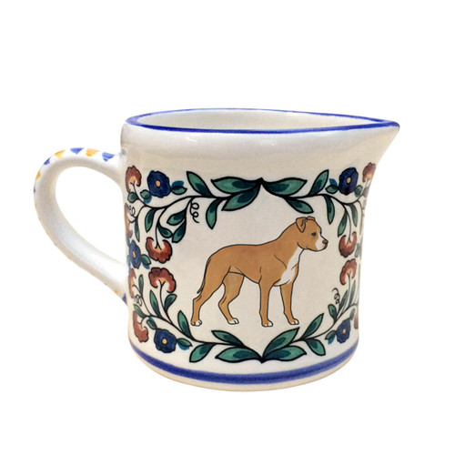 Tan and White Staffordshire Terrier creamer - handmade by shepherds-grove.com