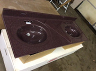 "Grey single hole granite or burgundy double bowl stone sink 60"" long with big splash"