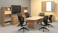 Deluxe Walnut conference Room Set,  laterals, storage wall dry erase  NEW
