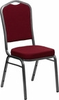 Lot of 25 New Burgundy Fabric Banquet Chair - Crown Back Design
