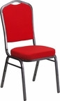 Lot of 25 New Red Fabric Banquet Chair - Crown Back Design Vibrant Color