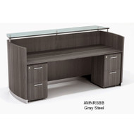 Mayline Medina Reception Station with Two File/File Pedestals Gray Steel  - MNRSBB-LGS