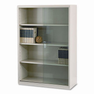Tennsco Executive Steel Bookcase with Glass Doors Putty - TNN-352GLPY
