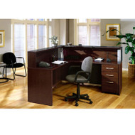 BBF Bush Series C Package L-Shaped Reception Desk Mocha Cherry - MOCPackageA