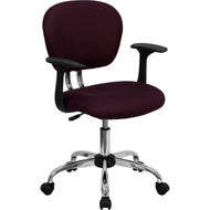 Flash Furniture Mid-Back Burgundy Mesh Task Chair with Arms and Chrome Base - H-2376-F-BY-ARMS-GG