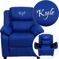 Flash Furniture Kid's Recliner with Storage Dreamweaver Embroiderable Blue Vinyl - BT-7985-KID-BLUE-EMB-GG