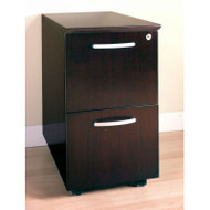 Mayline Napoli or Corsica Veneer Mobile Pedestal, 2 File Drawer ASSEMBLED Mahogany - VFF