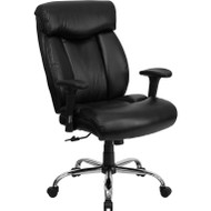 Flash Furniture Hercules Series Big & Tall Black Leather Office Chair with Arms - GO-1235-BK-LEA-A-GG