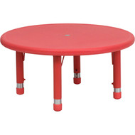 Flash Furniture 33'' Round Height Adjustable Red Plastic Activity Table YU-YCX-007-2-ROUND-TBL-RED-GG