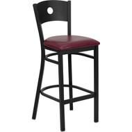 Flash Furniture Circle Back Metal Restaurant Barstool with Burgundy Vinyl Seat - XU-DG-60120-CIR-BAR-BURV-GG