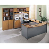 BBF Bush Series C Package Executive U-Shaped Bowfront Desk Natural Cherry - NCPackageB