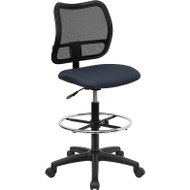 Flash Furniture Mid-Back Mesh Drafting Stool with Navy Blue Fabric Seat - WL-A277-NVY-D-GG