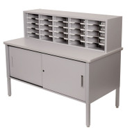 """Marvel 25 Adjustable Slot Literature Organizer with Cabinet Slate Gray 60""""W x 30""""D x 44-52""""H - UTIL0029"""