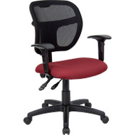 Flash Furniture Mid Back Mesh Task Chair with Burgundy Fabric Seat and Arms - WL-A7671SYG-BY-A-GG