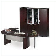"Mayline Napoli Veneer Series Suite 11 - Executive Desk 72"" with Return on Right and High Walll Cabinets Mahogany - NT11"