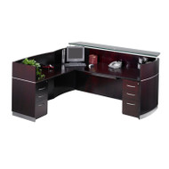 Mayline Napoli Veneer Reception Desk with Return and Two Box/Box/File Pedestal Drawers Mahogany - NRSLBB