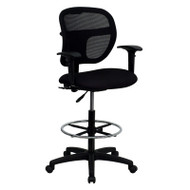 Flash Furniture Mid-Back Mesh Drafting Stool with Black Fabric Seat and Arms - WL-A7671SYG-BK-AD-GG