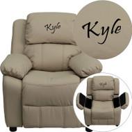 Flash Furniture Kid's Recliner with Storage Dreamweaver Embroiderable Beige Vinyl - BT-7985-KID-BGE-EMB-GG