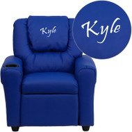 Flash Furniture Kid's Recliner with Cup Holder Blue Vinyl Dreamweaver Embroiderable - DG-ULT-KID-BLUE-EMB-GG