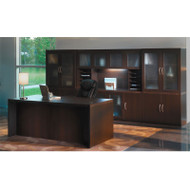 * MONTHLY SPECIAL! Mayline Aberdeen Executive Desk & Storage Cabinet Package Mocha - AT35