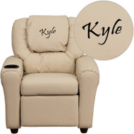 Flash Furniture Kid's Recliner with Cup Holder Beige Vinyl Dreamweaver Embroiderable - DG-ULT-KID-BGE-EMB-GG