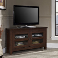 "Walker Edison Cordoba 44"" Corner TV Console, Brown - WQ44CCRTB"