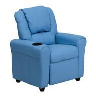 Flash Furniture Kid's Recliner with Cup Holder Light Blue Vinyl - DG-ULT-KID-LTBLUE-GG