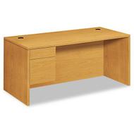 "HON 10500 Series Single 3/4 Pedestal Desk 66"" Left, Assembled - 10584LCC"