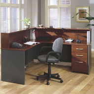 BBF Bush Series C Reception Desk L-Shaped with Mobile Pedestal Hansen Cherry - HCPackageK