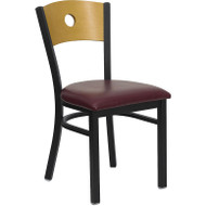 Flash Furniture Circle Back Metal Restaurant Chair with Burgundy Seat and Natural Wood Back - XU-DG-6F2B-CIR-BURV-GG