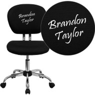 Mid-Back Black Mesh Task Chair with Chrome Base and Includes Embroidery - H-2376-F-BK-EMB-GG
