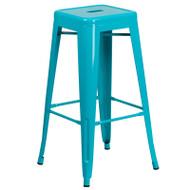 """Flash Furniture Crystal Teal-Blue Metal Indoor-Outdoor Barstool 30""""H - ET-BT3503-30-CB-GG"""