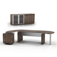 """* MONTHLY SPECIAL! Mayline Medina Executive 63"""" Desk with Return on Left, Right Curved Desk Extension,  and Low Wall Cabinet, Textured Brown Sugar  - MNT8-TBS"""