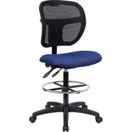 Flash Furniture Mid-Back Mesh Drafting Stool with Navy Fabric Seat - WL-A7671SYG-NVY-D-GG