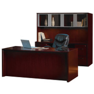 """* MONTHLY SPECIAL! Mayline Corsica Veneer Executive Straight Front Desk with Credenza and Glass Doors Hutch Package 72"""" Mahogany - CT28"""