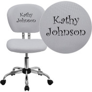 Flash Furniture Mid-Back White Mesh Task Chair with Chrome Base and Includes Embroidery - H-2376-F-WHT-EMB-GG