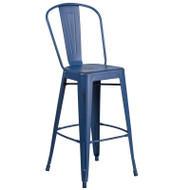 "Flash Furniture Distressed Antique Blue Metal Indoor-Outdoor Bar Height Chair 30""H - ET-3534-30-AB-GG"