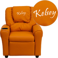 Flash Furniture Kid's Recliner with Cup Holder Orange Vinyl Dreamweaver Embroiderable - DG-ULT-KID-ORANGE-EMB-GG
