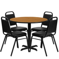 Flash Furniture 36'' Round Laminate Natural Table Set with 4 Banquet Chairs - HDBF1003-GG