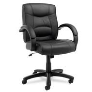 Alera Strada Series Mid-Back Chair Black Leather - SR42LS10B