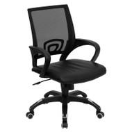 Flash Furniture Mid-Back Black Mesh Computer Chair with Black Leather Seat - CP-B176A01-BLACK-GG