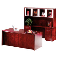 """* MONTHLY SPECIAL! Mayline Corsica Veneer Executive Bow Front Desk with Credenza and Glass Doors Hutch Package 72"""" Sierra Cherry - CT26-CRY"""