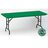 Correll R-Series Heavy Duty Blow-Molded Plastic Folding Table Adjustable Height Colored 24 x 48  - RA2448C