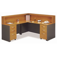 BBF Bush Series C Package Executive L-Shaped Reception Desk Package Natural Cherry - NCPackageJ