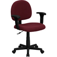 Flash Furniture Mid Back Ergonomic Burgundy Fabric Task Chair with Adjustable Arms - BT-660-1-BY-GG