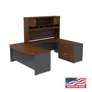 "BBF Bush Series C Package U-Shaped Bowfront Desk with Hutch and Storage in Hansen Cherry 72"" Left - SRC005HCRSU"
