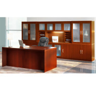 * MONTHLY SPECIAL! Mayline Aberdeen Executive Desk & Storage Cabinet Package Cherry - AT35-LCR