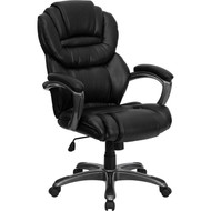 Flash Furniture High Back Black Leather Executive Office Chair with Leather Padded Loop Arms - GO-901-BK-GG