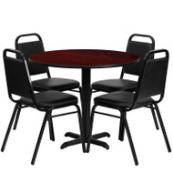 Flash Furniture 36'' Round Laminate Mahogany Table Set with 4 Banquet Chairs - HDBF1002-GG