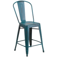 """Flash Furniture Distressed Kelly Blue-Teal Metal Indoor-Outdoor Counter Height Chair 24""""H - ET-3534-24-KB-GG"""